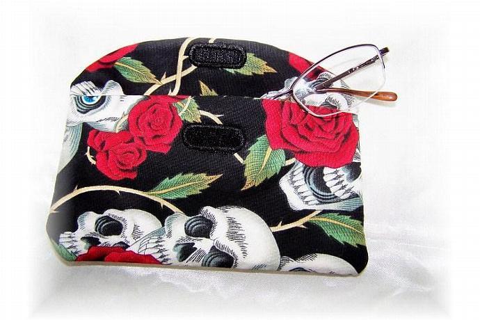 Red Roses and White Skulls Eyeglass Case
