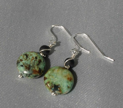African Turquoise Earrings 9041