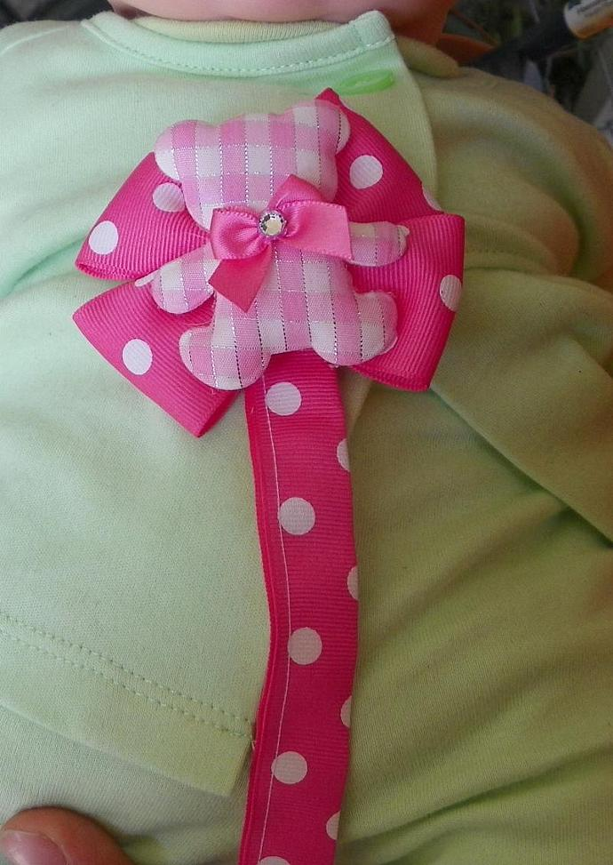 Teddy Bear Pacifier Clip Hot Pink READY to SHIP