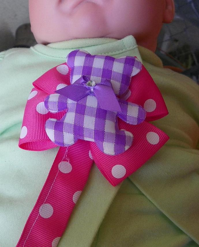 Teddy Bear Pacifier Clip Purple READY to SHIP