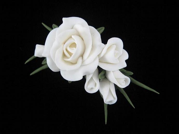 White Rose Cluster Pin