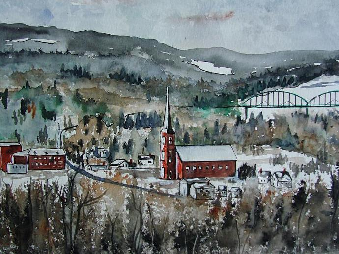 Bordertown-Original Watercolor Painting
