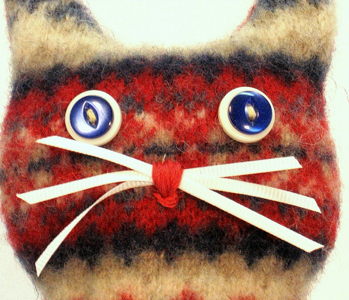 Recycled Wool Sweaters Felted Kitty Plushies Alpie
