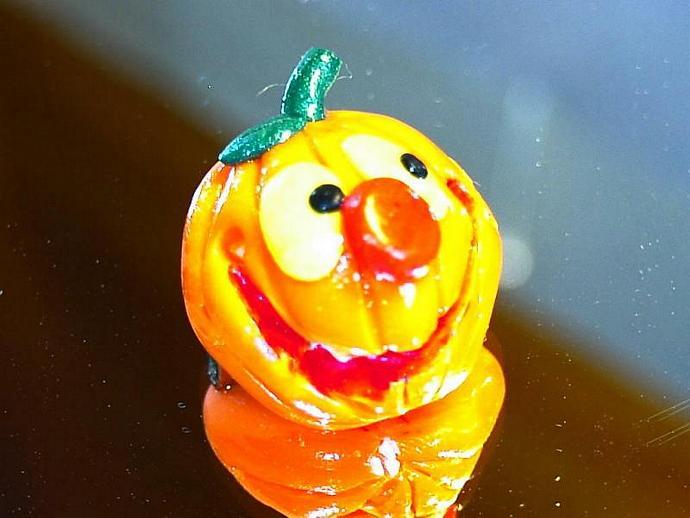polymer clay Jolly jack o lantern pin halloween v1