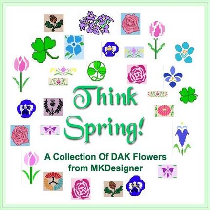 29 Flowers HandKnit Graphs or MachineKnit DAK
