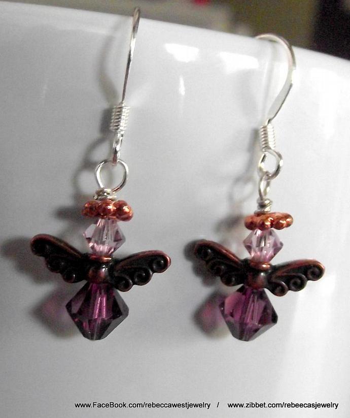 Pink & Purple Angel Earrings
