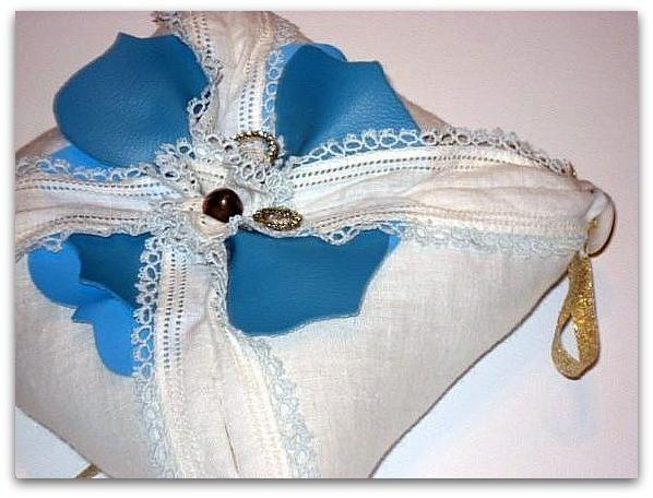 Blue Poppy Ring Pillow - OOAK