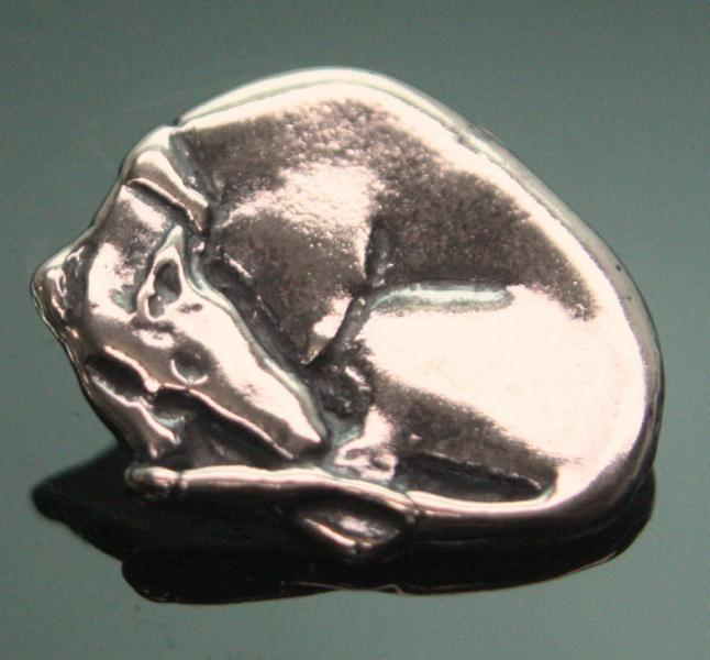 """""""Sleeping Beauty"""" sterling silver greyhound/whippet pendant"""