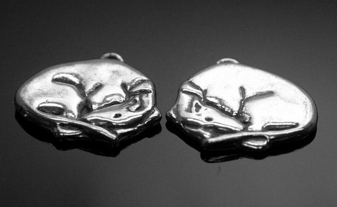 """""""Sleeping Beauty"""" sterling silver greyhound/whippet charm"""