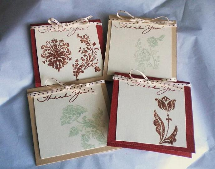 Damask flower thank you card/envelope set- set of 4