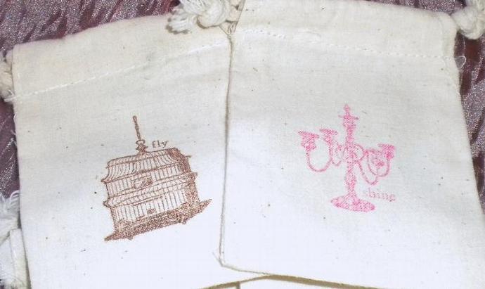 Elegant inspiration muslin favor bags -  set of 10