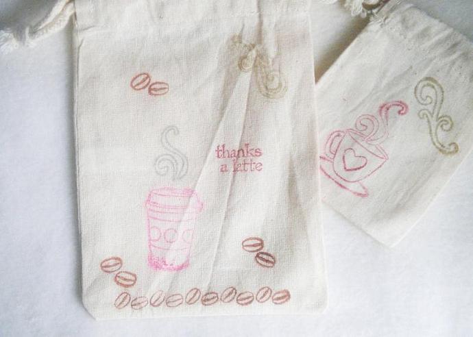 """Thanks a Latte muslin bag - SET OF 4 -  5""""x7"""""""