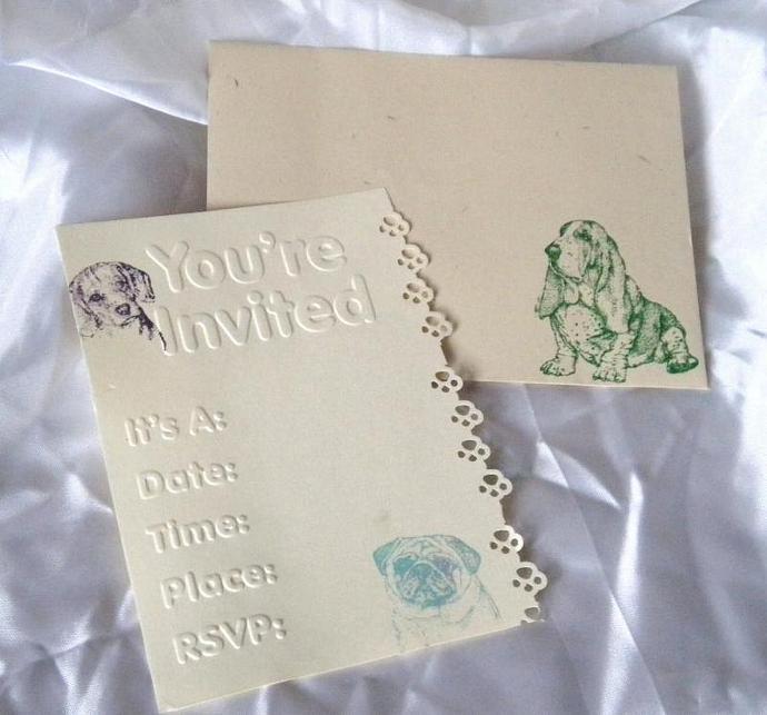 Dog day party invitation n envelope - 10 sets