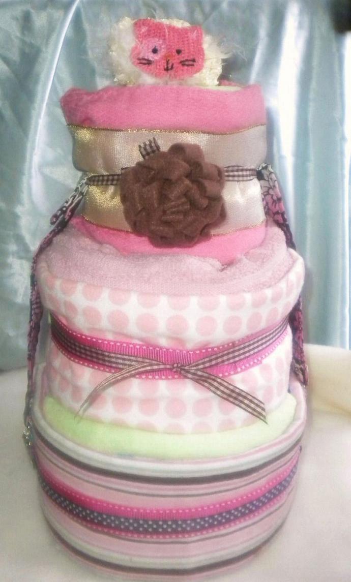 Trendy  damask pink diaper cake