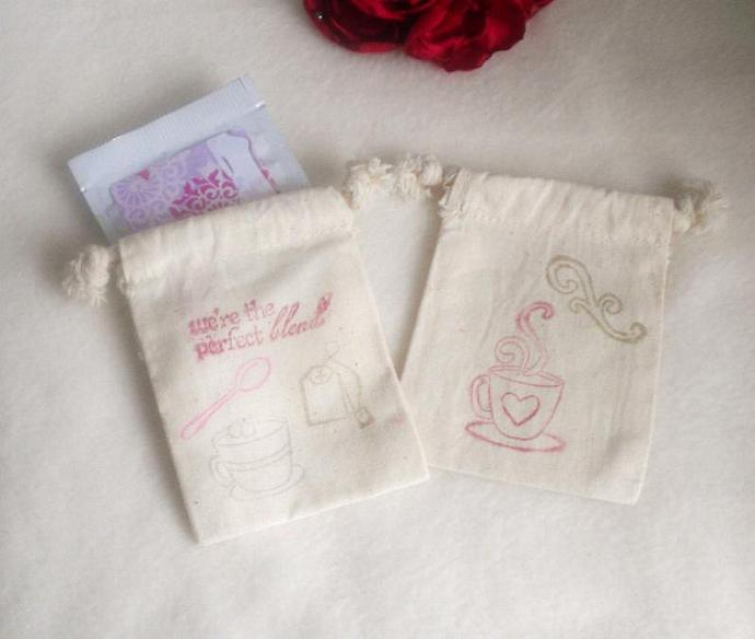 Tea theme stamped  Muslin pouch WITH  tea bag