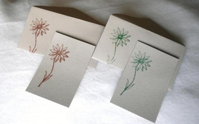 Sunflower mini notecards and envelopes -  set of 5