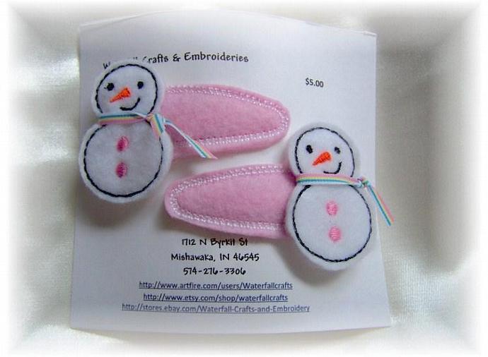 Snowman Handcrafted Felt Barrettes