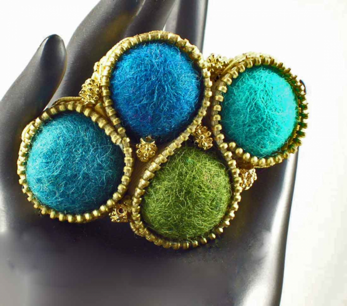 Turquoise and Olive Zipper Brooch,  Felted Wool Beads
