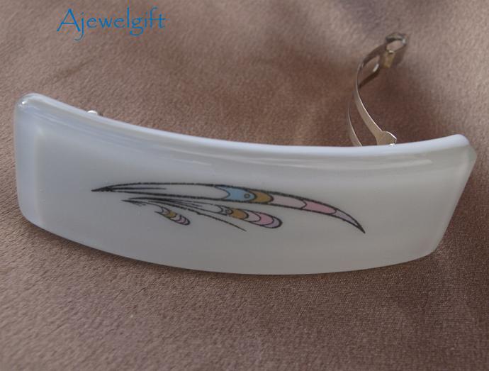 Colorful Design Fused Glass Barrette 103003