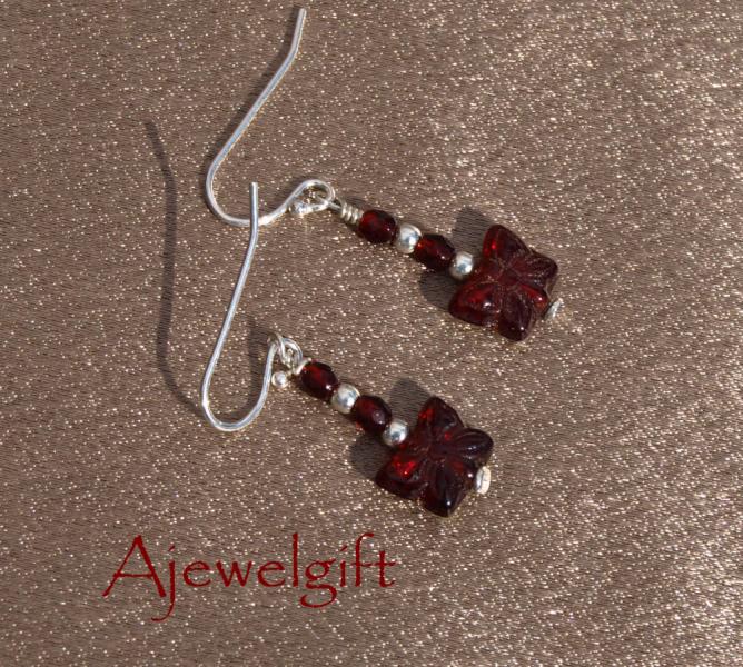 Red Butterfly Glass Earrings 10002