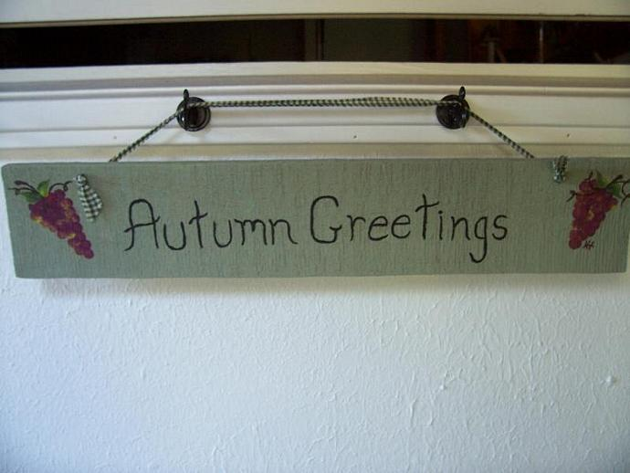 Autumn Greetings Sign with Grapes