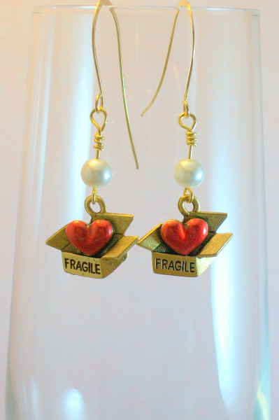 Gold Fragile Heart Earrings