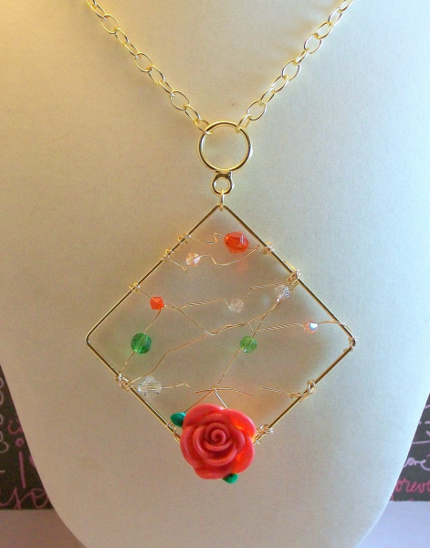 Wire Wrapped Pendant Frame Necklace with Crystals