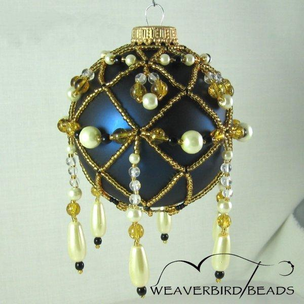 Beaded Ornament Gold Cream Amber Black