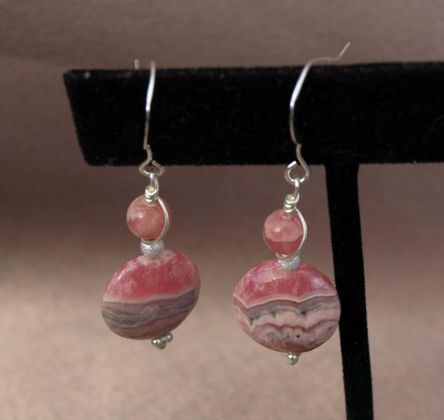 Pink Rhodochrosite Earrings 9023