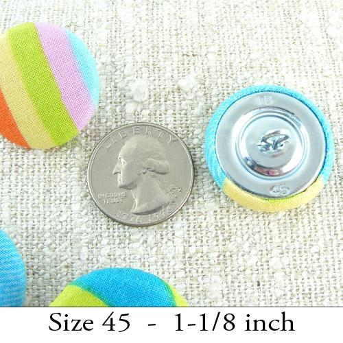 Bright and Striped Fabric crafters BUTTONS ...Four-4-Size 45