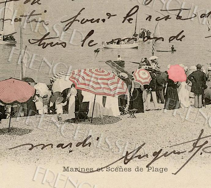 Victorian BEACH scene Umbrellas Antique French postcard DIGITAL download scan