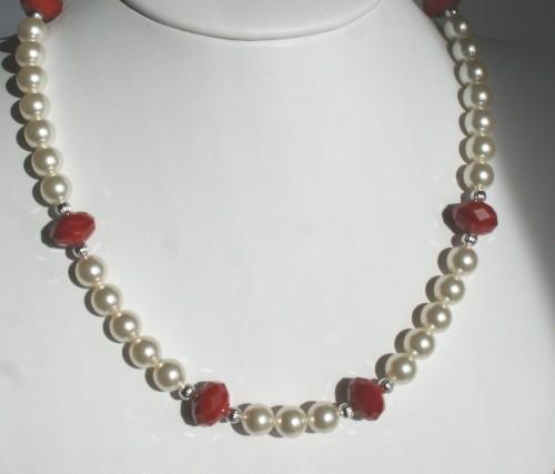 Swarovski Creamrose Pearl & Red Velvet Crystal Wedding Statement Necklace &