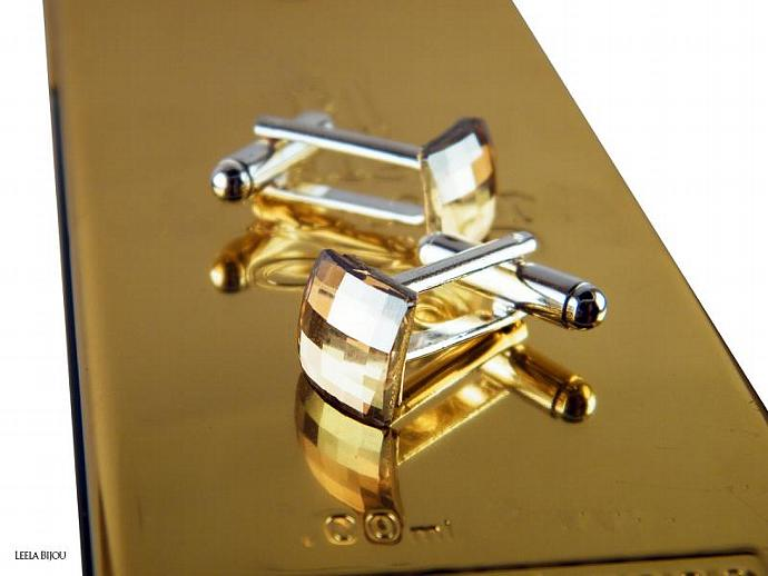 Golden Cuff Links Swarovski Crystal Silver Plated