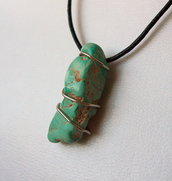 Wire-Wrapped Natural Kingman Turquoise Nugget