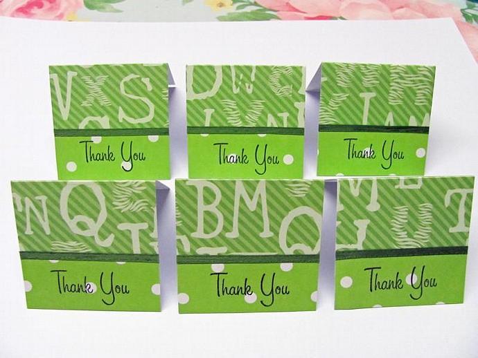 Green Animal Safari Mini Thank You Cards 2x2 (6cards)