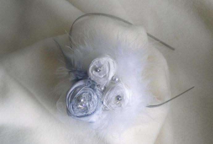 Silvery white rose trio headband