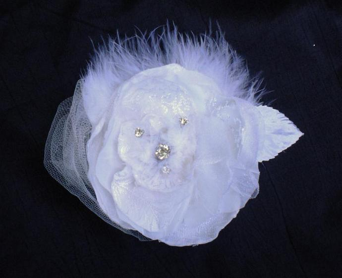 Floating rhinestone silk flower