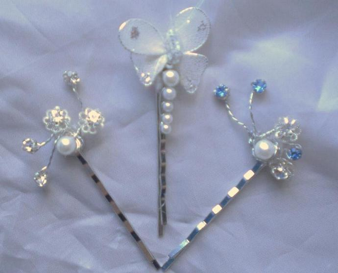 Nature's beauty rhinestone/pearl hair pins