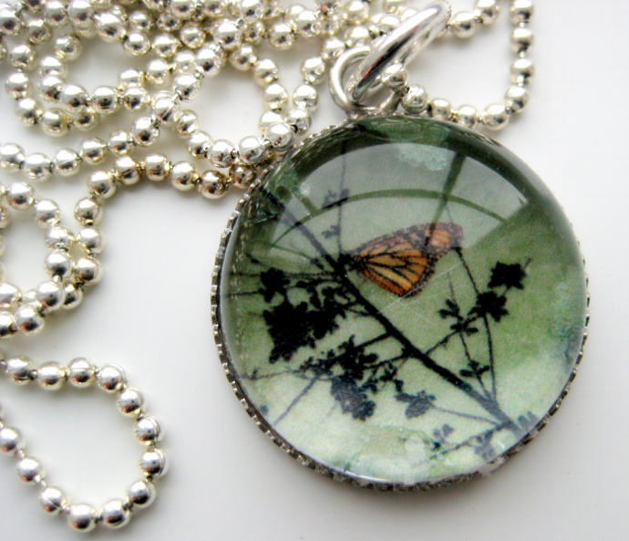 Monarch Butterfly - A Little Bubble Pendant