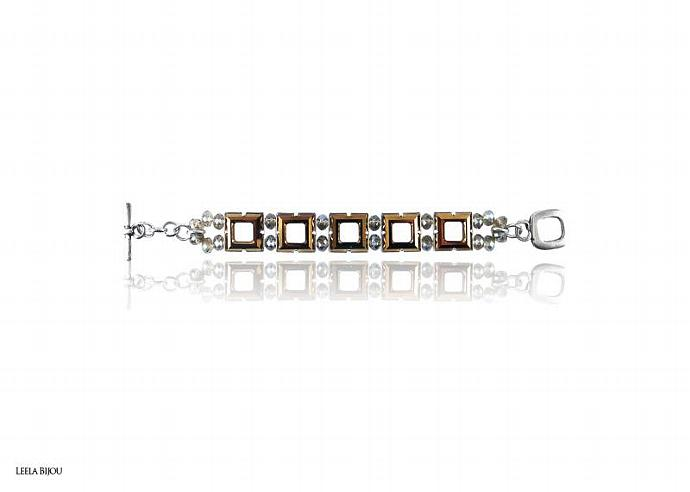 La Vie In Gold Bracelet Swarovski Crystal Silver Plated - Made To Order