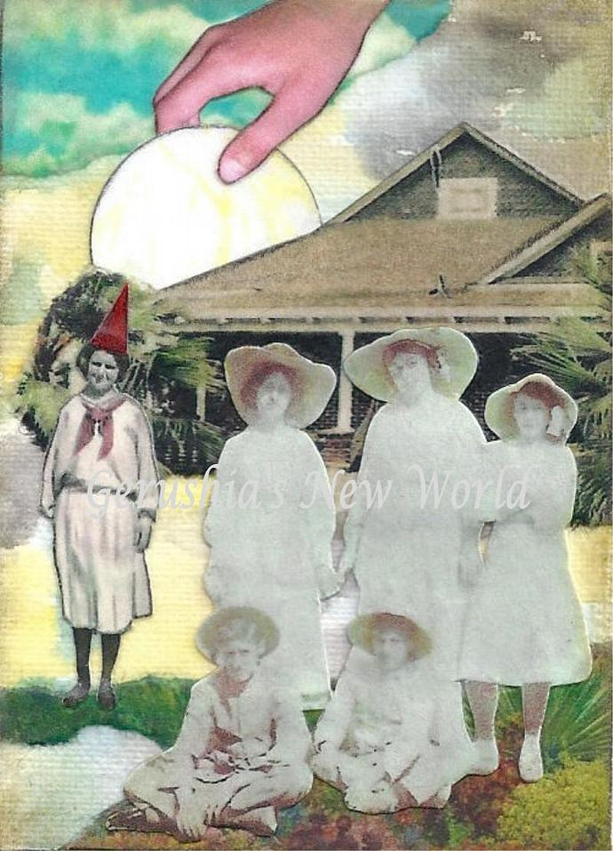 Guardian of the Orphan's Moon ~ ACEO Watercolor Collage Print