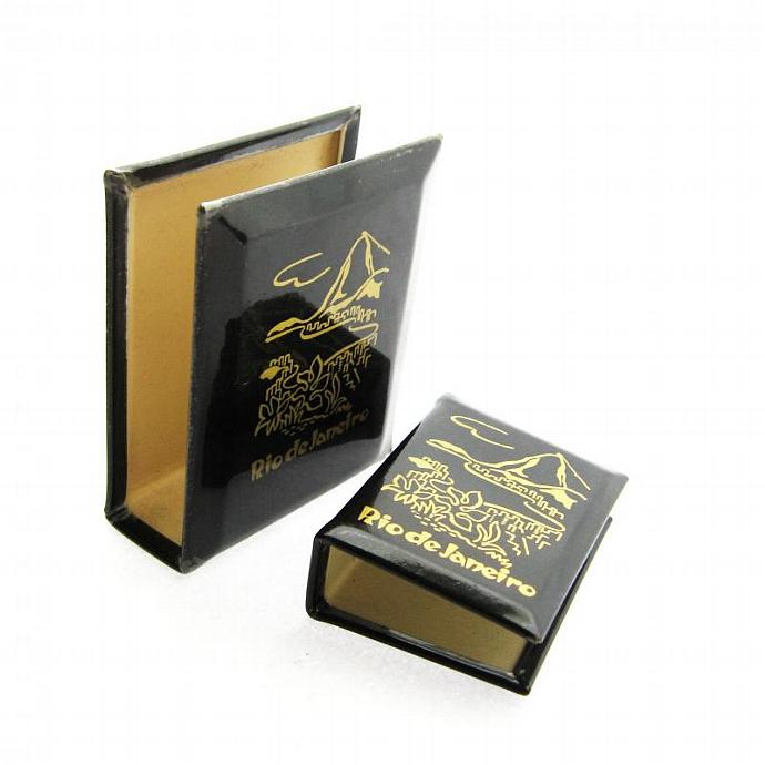 Vintage Souvenir Rio Brazil Cigarette Pack Holder w Match Book Cover Set