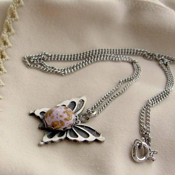 Pewter Butterfly Stone Pendant  and Chain Necklace
