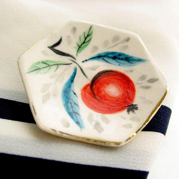 Vintage Gold Rimmed Porcelain Hand Painted Brooch- Artist Signed