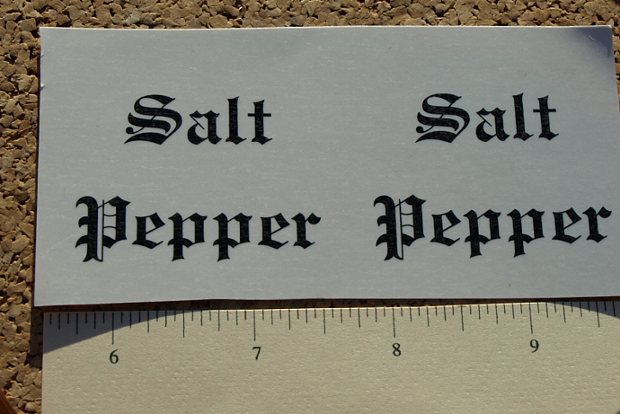 Salt and Pepper Ceramic Waterslide Decals D10-6