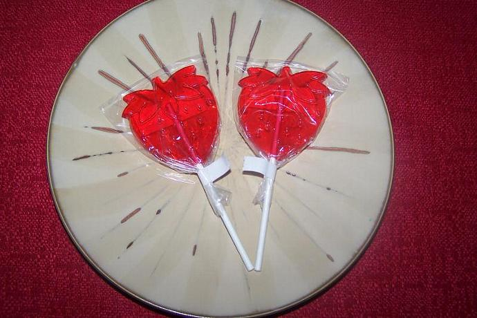 10 Big Strawberry Shaped Lollipops Sucker Party Favor