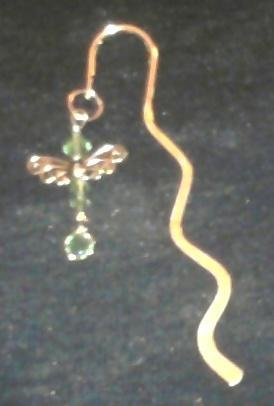 Swarovski crystal dragonfly gold tone bookmark by birth month color