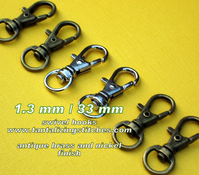 5 Antique Brass Lobster Swivel Clasps - 1.3 INCH