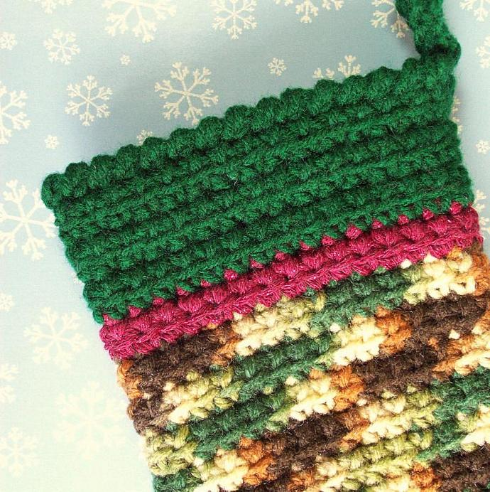 Big Woodsy Christmas Stocking, crocheted, 19 inches total length
