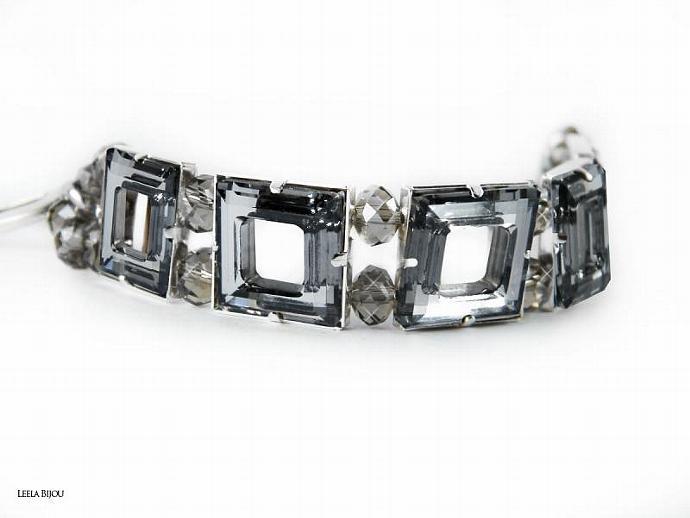 La Vie In Grey Bracelet Swarovski Crystal Silver Plated